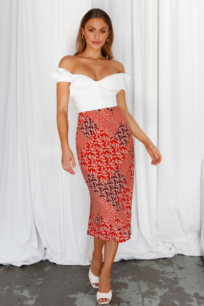 Summer Day Midi Skirt Red