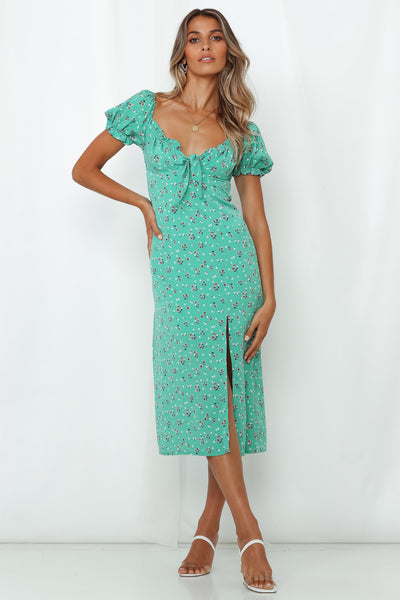 Longing For You Midi Dress Green