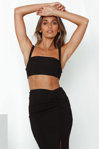 Like Duh Crop Top Black