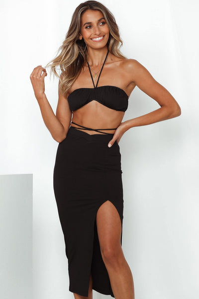Feels Like Love Bikini Top Black