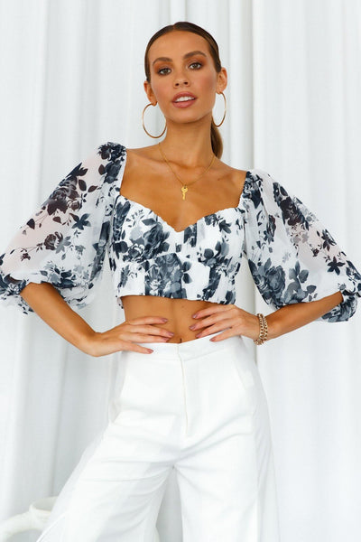 Pretty Polly Crop Top White