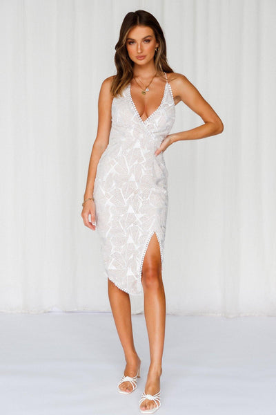 Shine Queen Midi Dress White