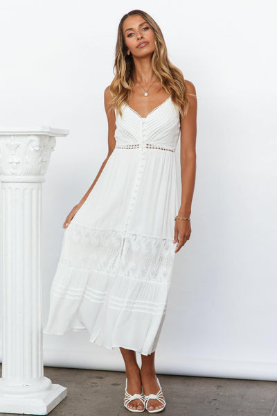 Catch Me By The Sea Maxi Dress White | Hello Molly