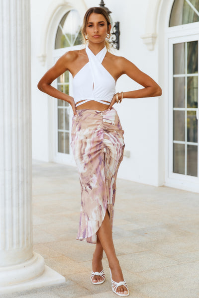 Drifting Waves Midi Skirt Purple