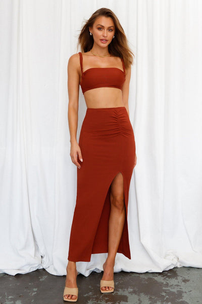 Like Duh Maxi Skirt Brown