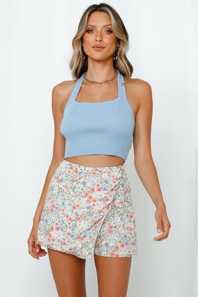 Bend And Snap Halter Crop Top Blue