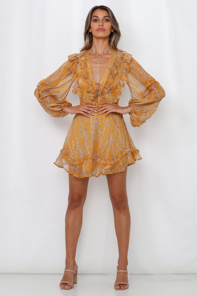 Tied Together Dress Mustard