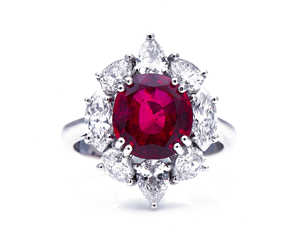 18ct White Gold, 'Pigeon's Blood' 4.27ct Ruby and Diamond Cluster Ring