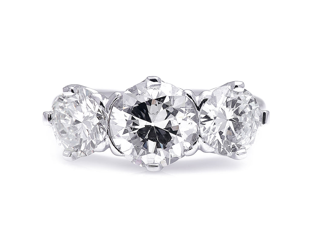 1940s, Platinum, Diamond Three-Stone Ring