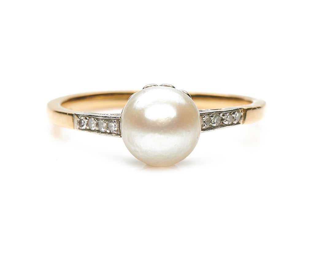 Antique Edwardian, 18ct Gold, Platinum, Natural Pearl and Diamond Ring