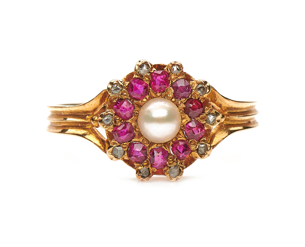Antique Edwardian, 18ct Gold, Natural Pearl, Ruby and Diamond Ring
