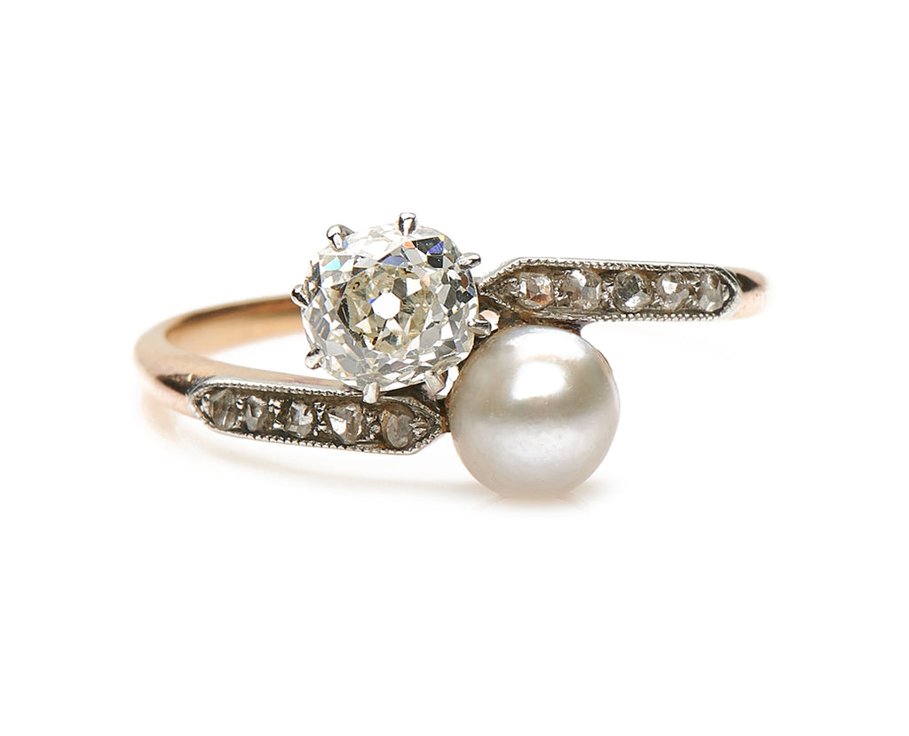 Antique Edwardian, 18ct Gold, Platinum, Natural Pearl and Diamond Twist Ring