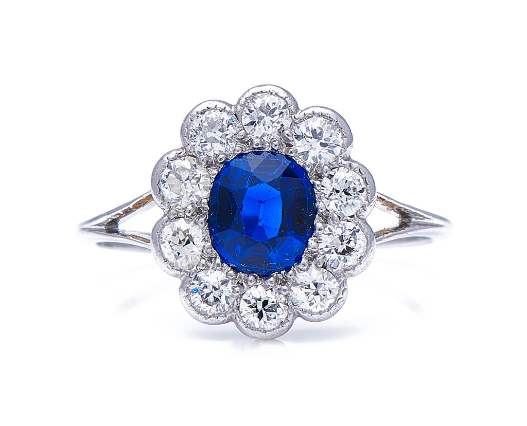 Art Deco, Platinum, Tiffany & Co. Sapphire and Diamond Cluster Ring, Original Box