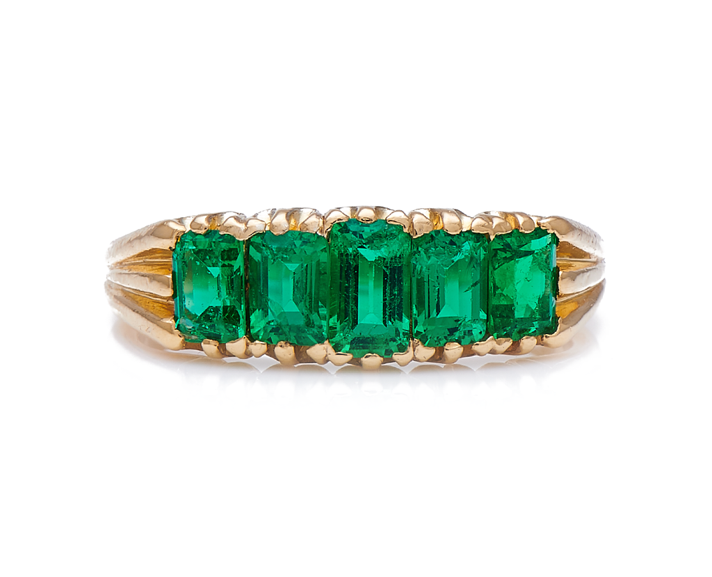 Antique Edwardian, 18ct Gold, Colombian Emerald Five Stone Ring