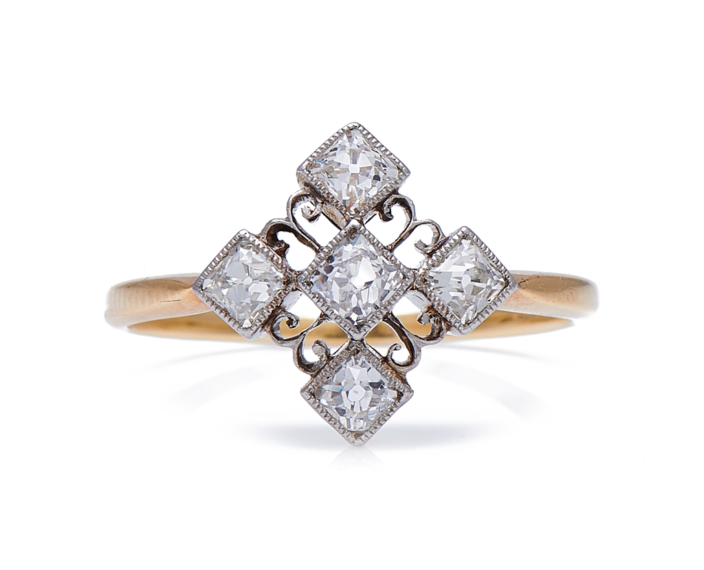 Antique Edwardian, 18ct Gold, Platinum, Diamond Cluster Engagement Ring