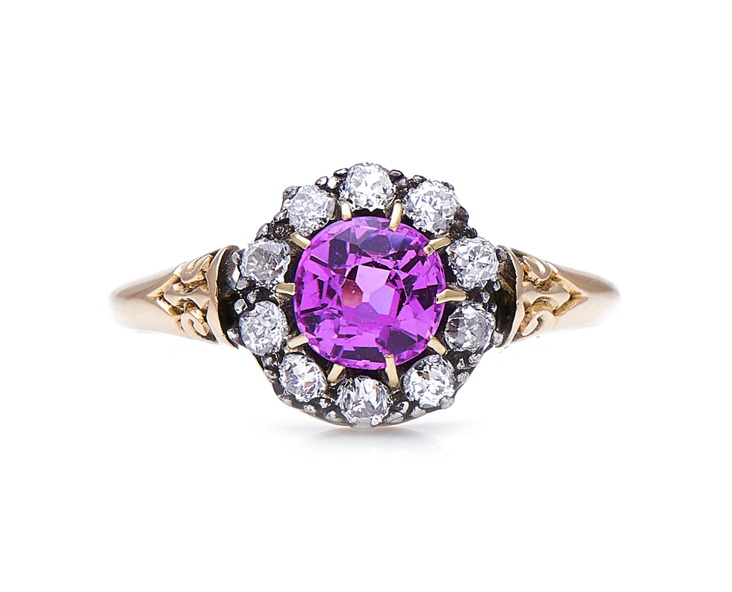 Antique Edwardian, 18ct Gold, Natural Pink Sapphire and Diamond Cluster Ring
