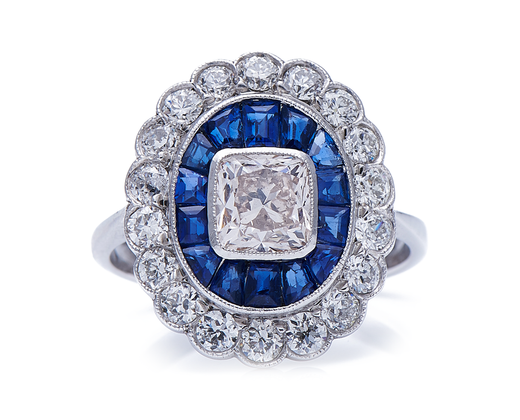 Antique Art Deco, 18ct White Gold, Diamond and Sapphire Cluster Ring