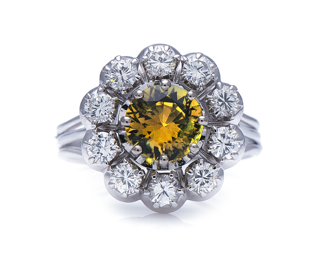 Mid-Century, Platinum, Chrysoberyl and Diamond Cluster Ring