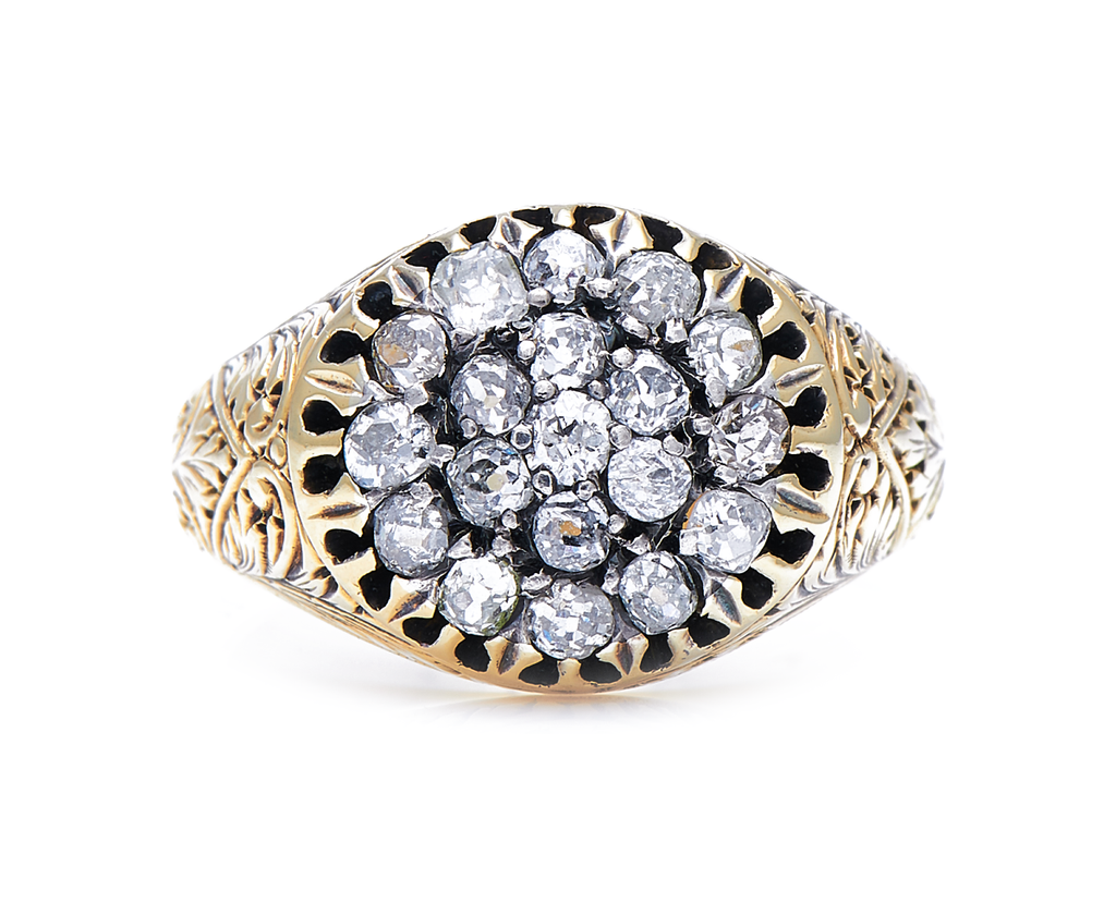 Antique Victorian, 18ct Gold, Diamond Cluster Ring