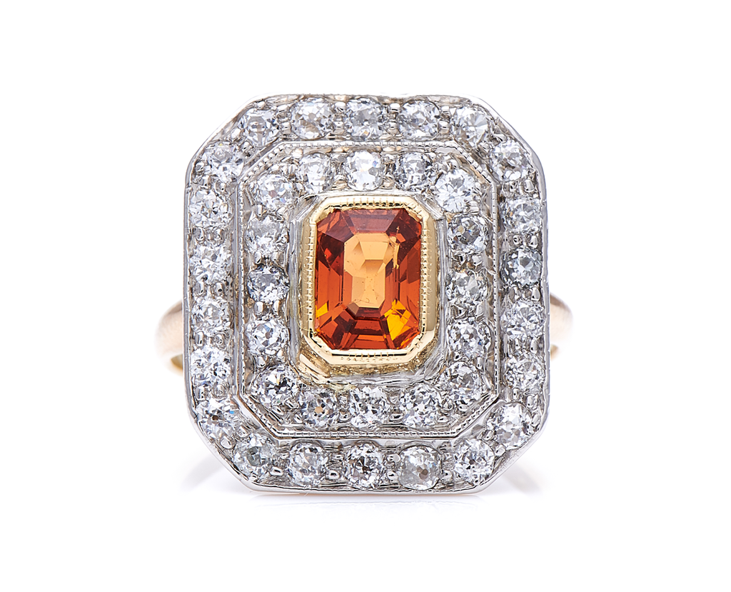 Antique Art Deco, 18ct Gold, Platinum, Spessartine Garnet and Diamond Cluster Ring
