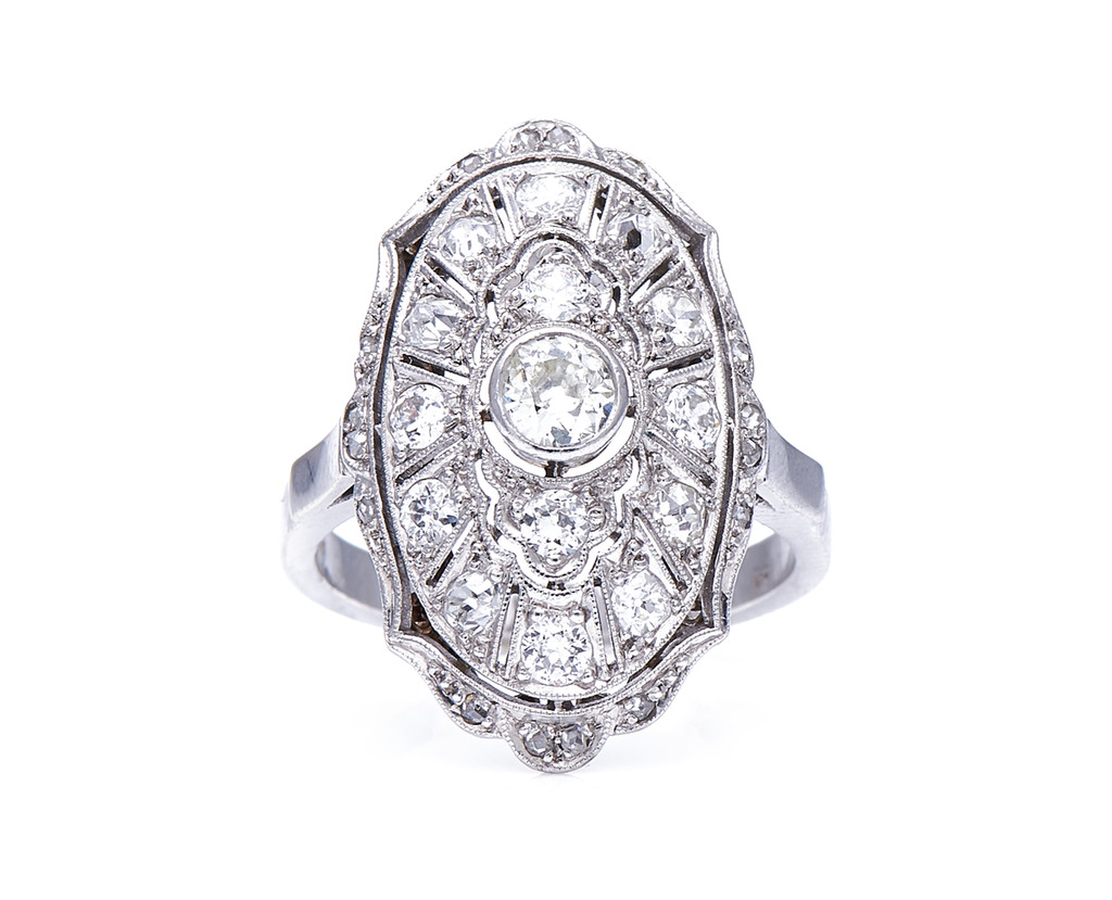 Antique Edwardian, German, 585 White Gold, Platinum, Diamond Cluster Ring