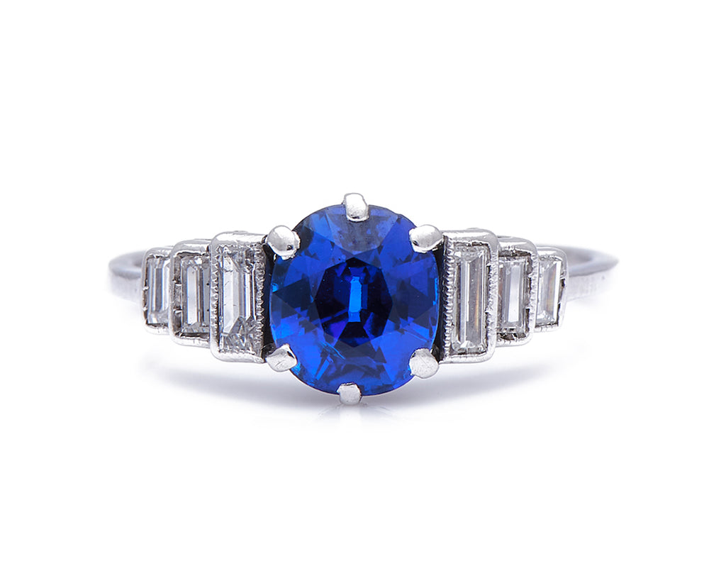 Antique Art Deco, Platinum, Sapphire and Diamond Engagement Ring