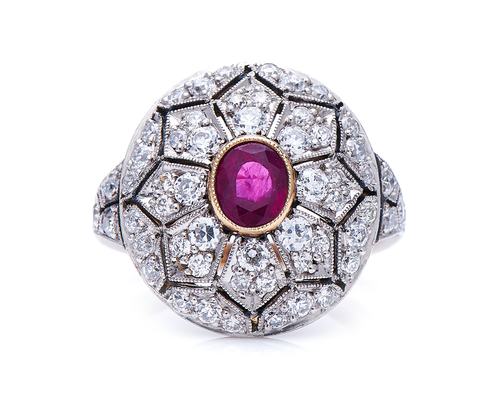 Antique, Belle Époque, 18ct Gold, Ruby and Diamond Cluster Ring