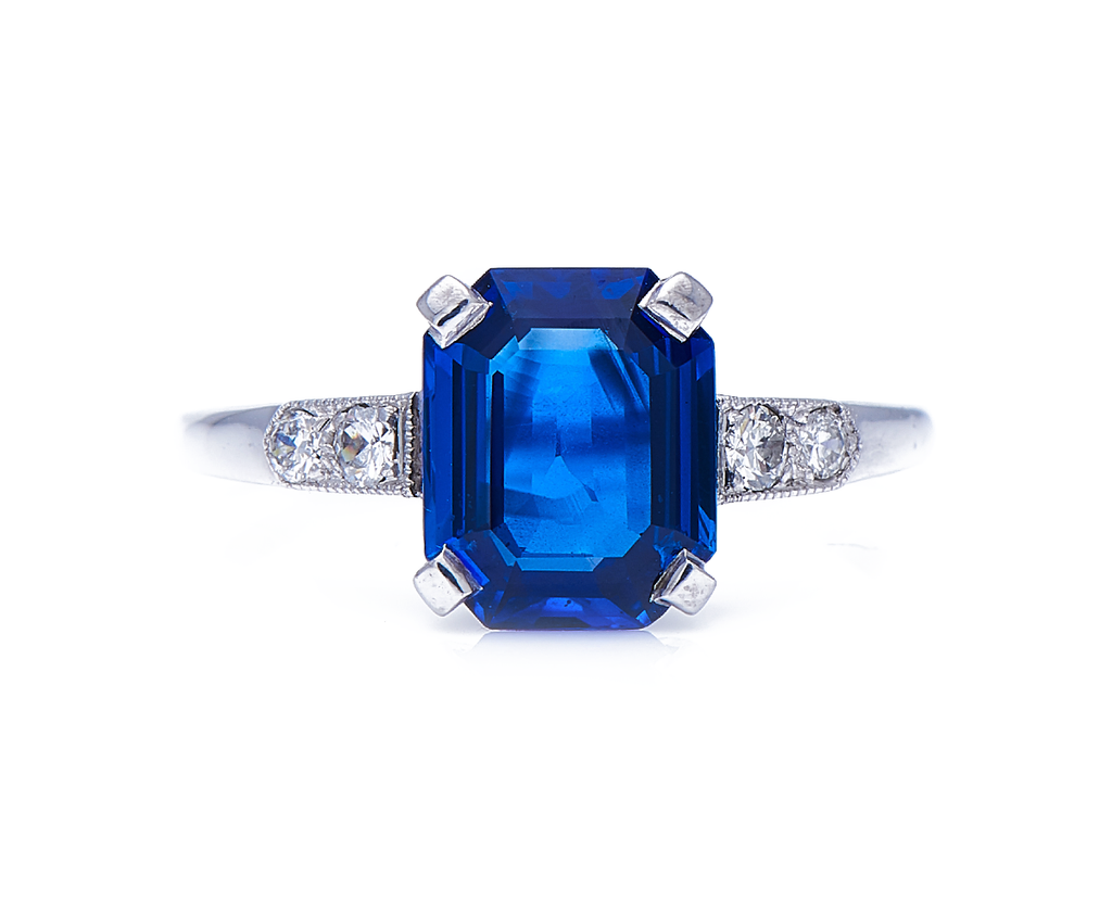 Art Deco, Platinum, Burmese Sapphire and Diamond Ring