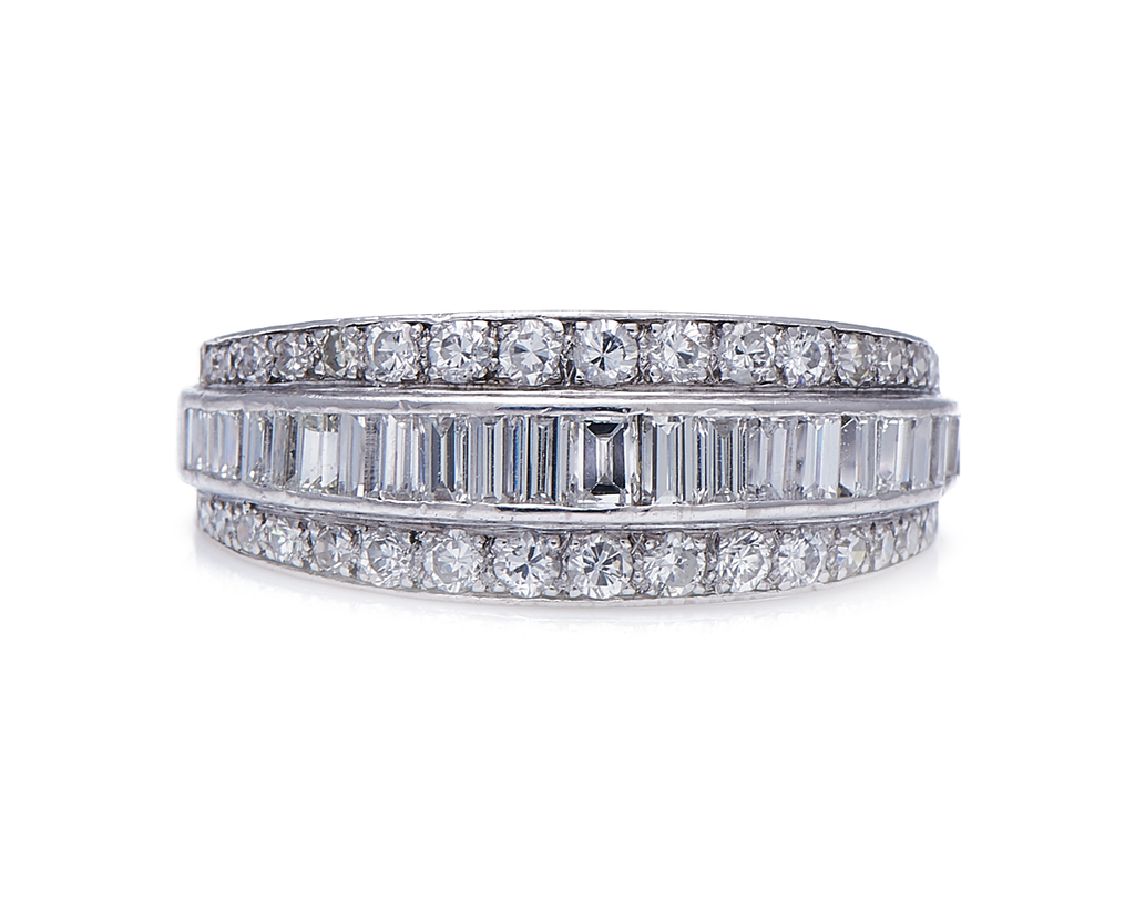 Antique, Late Art Deco, Platinum, Diamond Half Eternity Ring