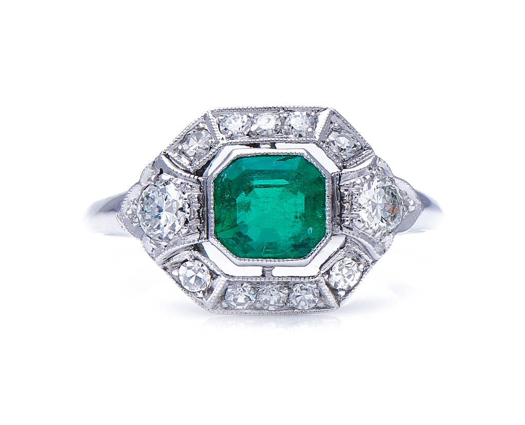 Antique, Art Deco, Platinum, 18ct White Gold, Emerald and Diamond Cluster Ring
