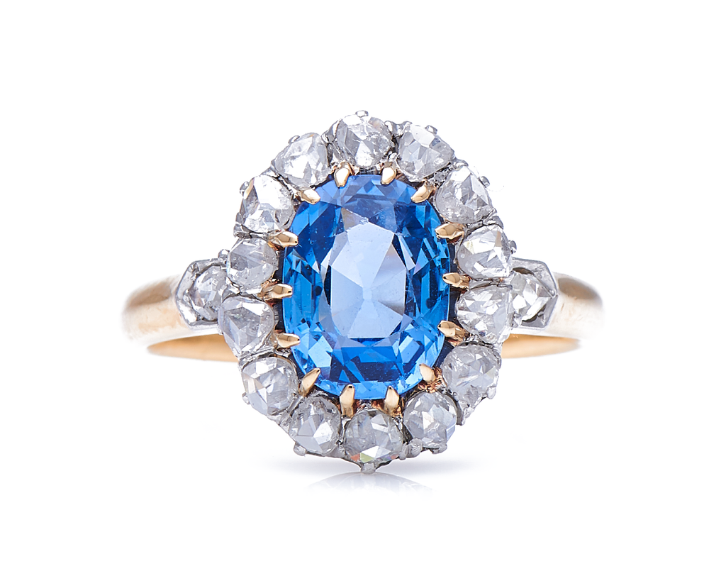 Antique, Edwardian, 18ct Gold, Natural 'Cornflower' Ceylon Sapphire and Diamond Cluster Ring