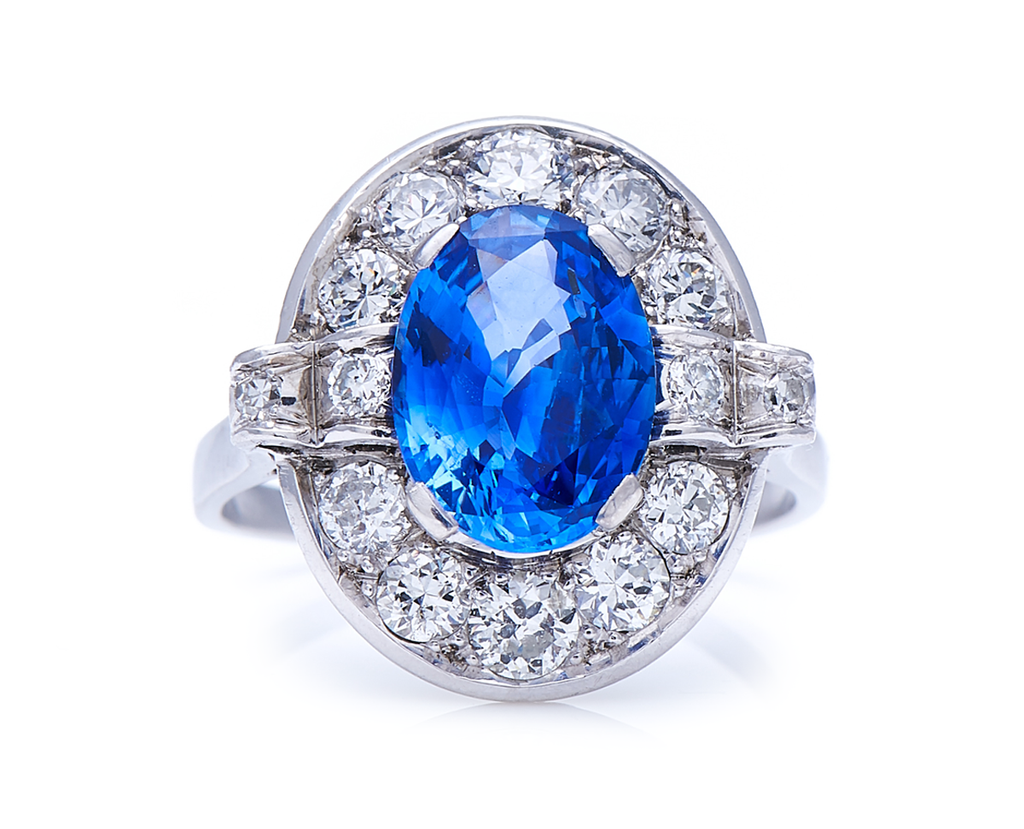 Antique, Art Deco, Platinum, French, Natural 'Cornflower' Ceylon Sapphire and Diamond Cluster Ring