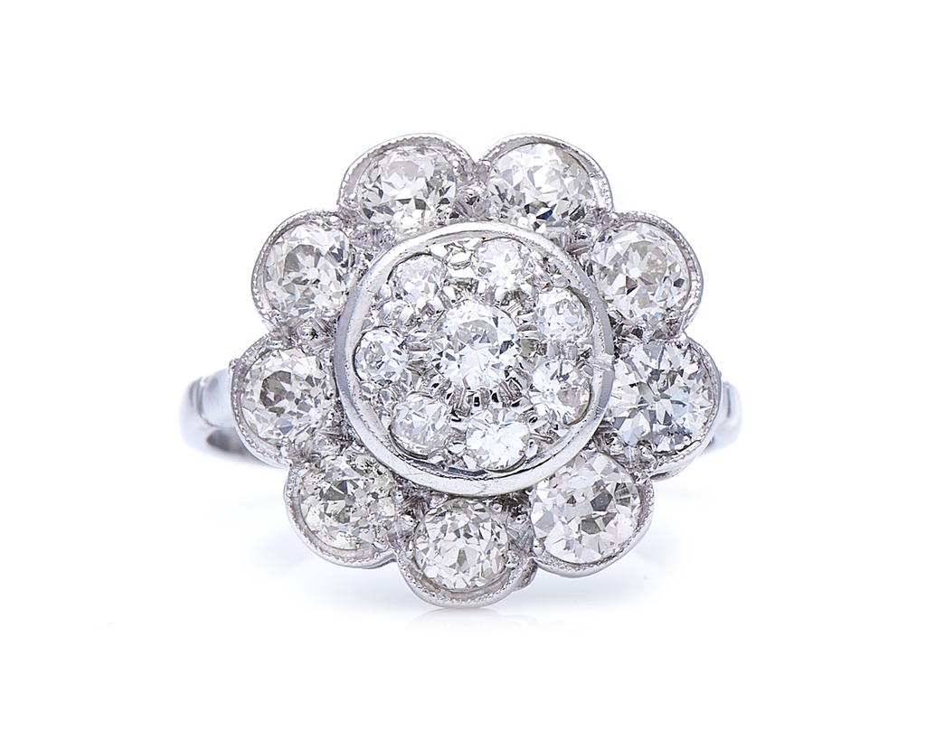 Antique, Art Deco, 18ct White Gold, Large Floral Diamond Cluster Ring