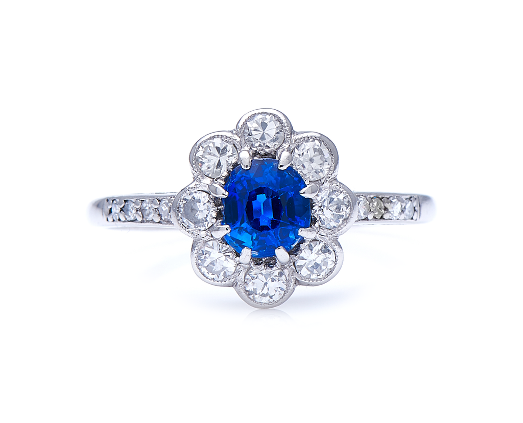Antique, Art Deco, Platinum, Sapphire and Diamond Cluster Ring
