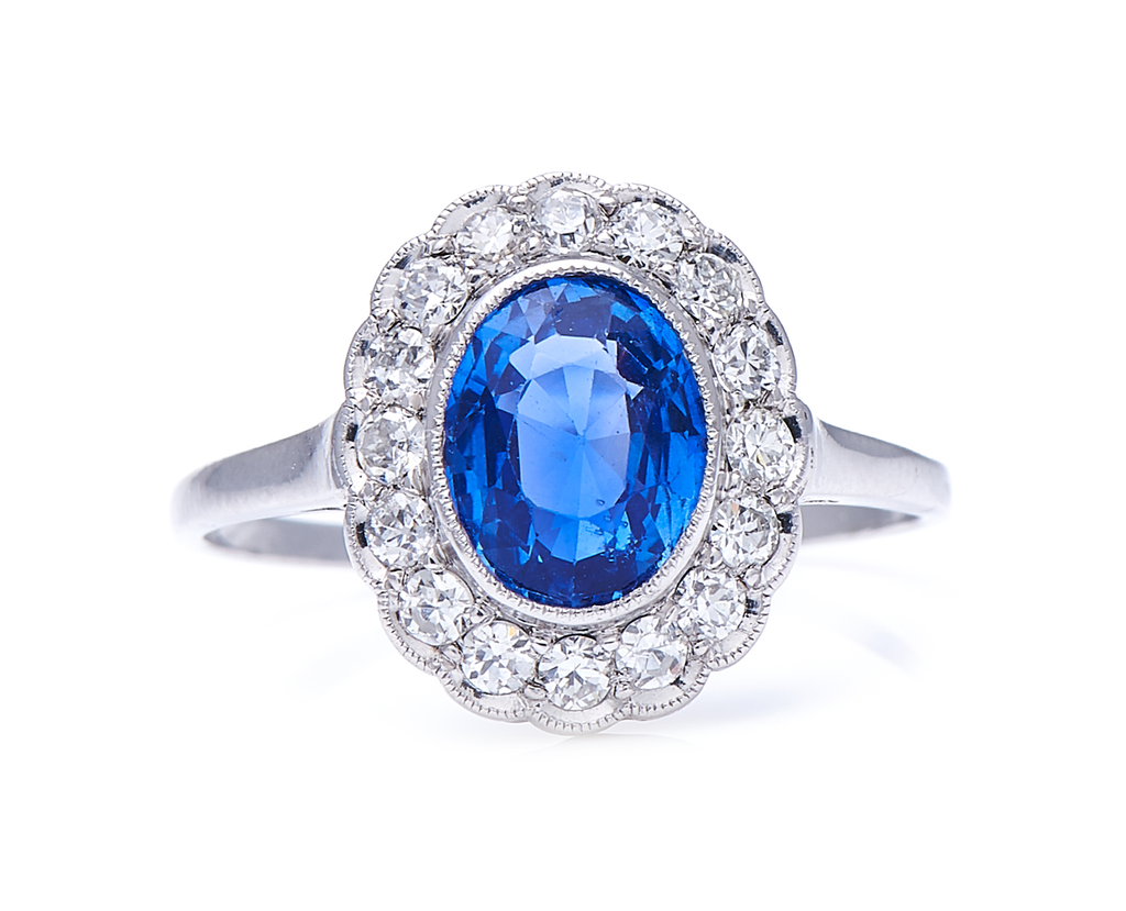 Antique, Edwardian, Platinum, Natural 'Cornflower' Ceylon Sapphire and Diamond Cluster Ring