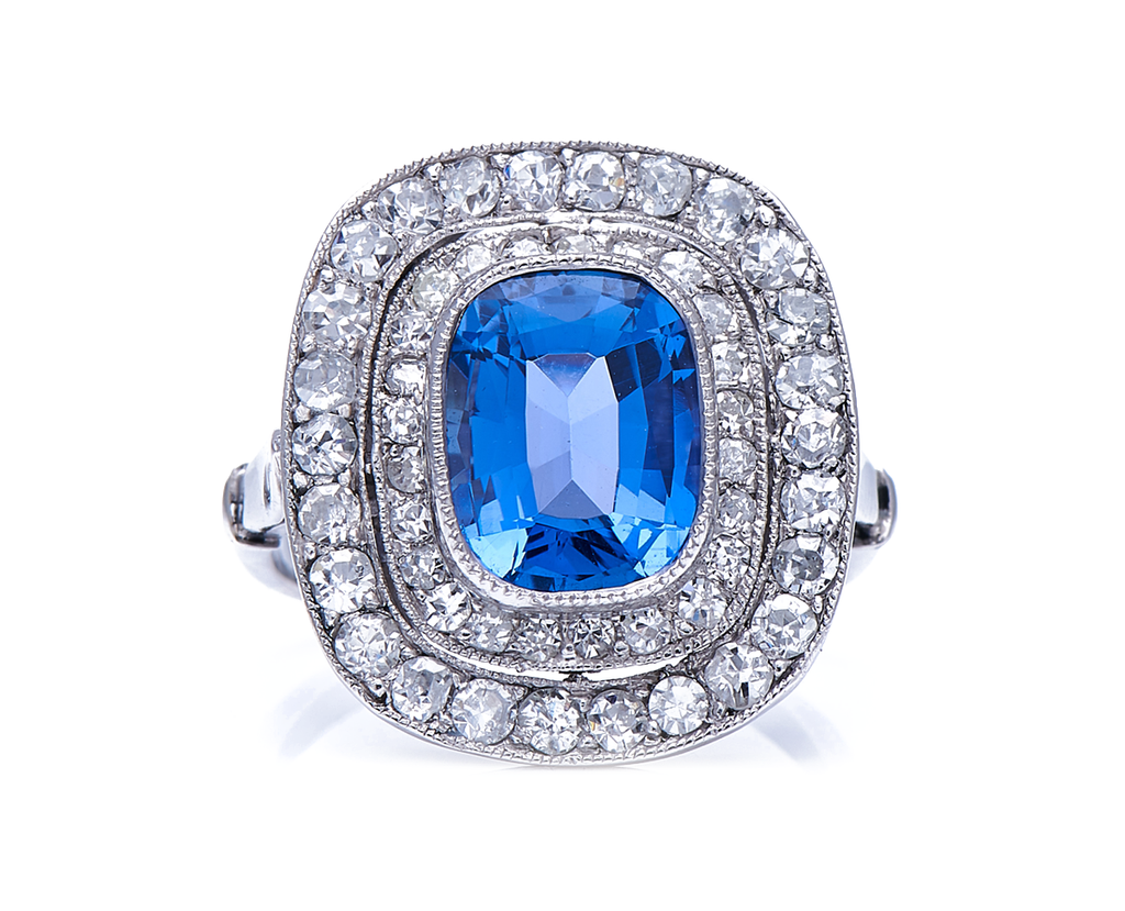Antique, Edwardian, Platinum, Rare Natural 'Cornflower' Ceylon Sapphire and Double Row Diamond Cluster Ring