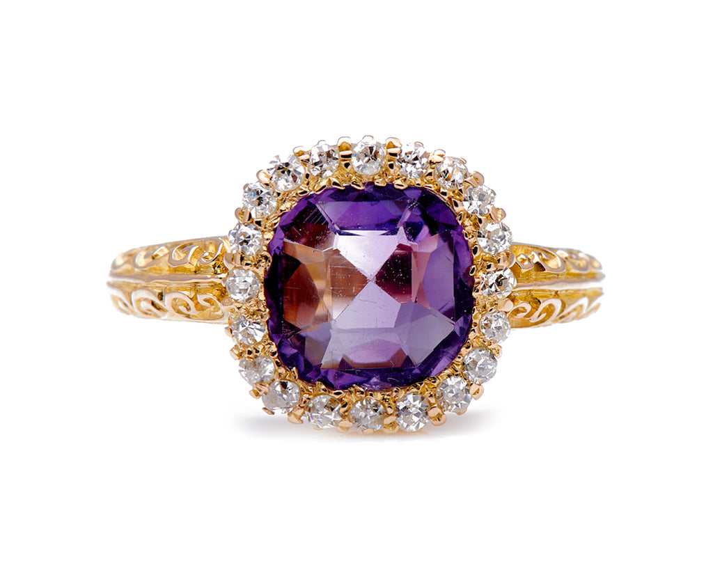 Antique Victorian, 18ct Gold, Amethyst and Diamond Cluster Ring