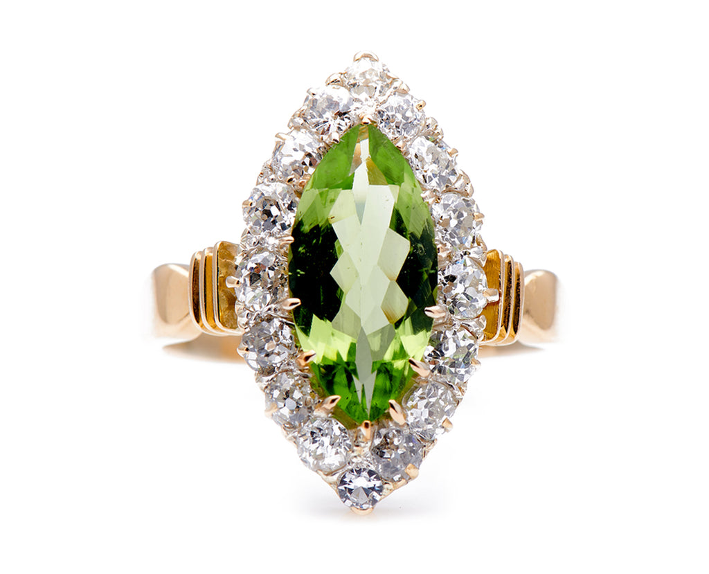 Antique Art Deco, 18ct Gold, Peridot and Diamond Marquise Cluster Ring