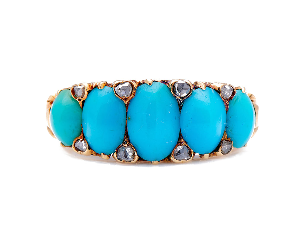Antique Victorian, 18ct Gold, Natural Turquoise and Diamond Half Hoop Ring