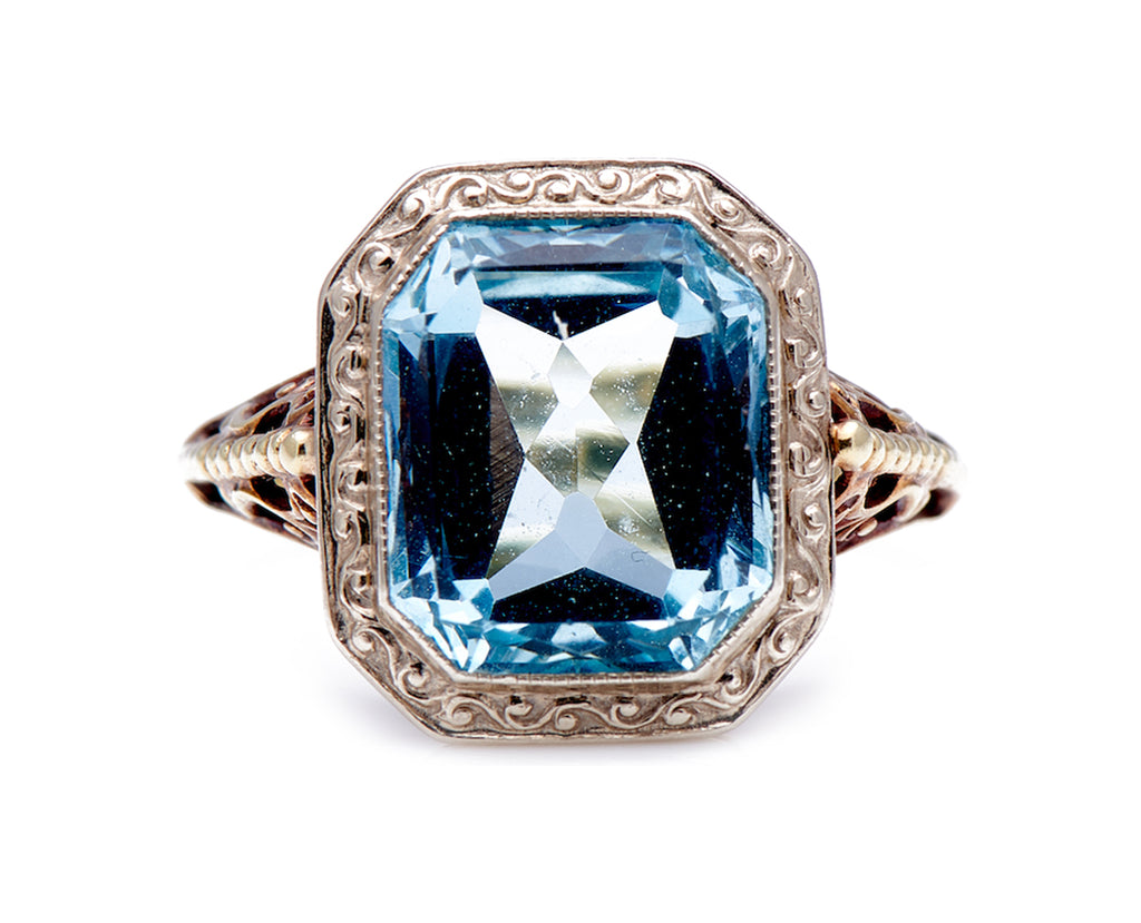 Antique Art Deco, 14ct Gold, Single Aquamarine Ring