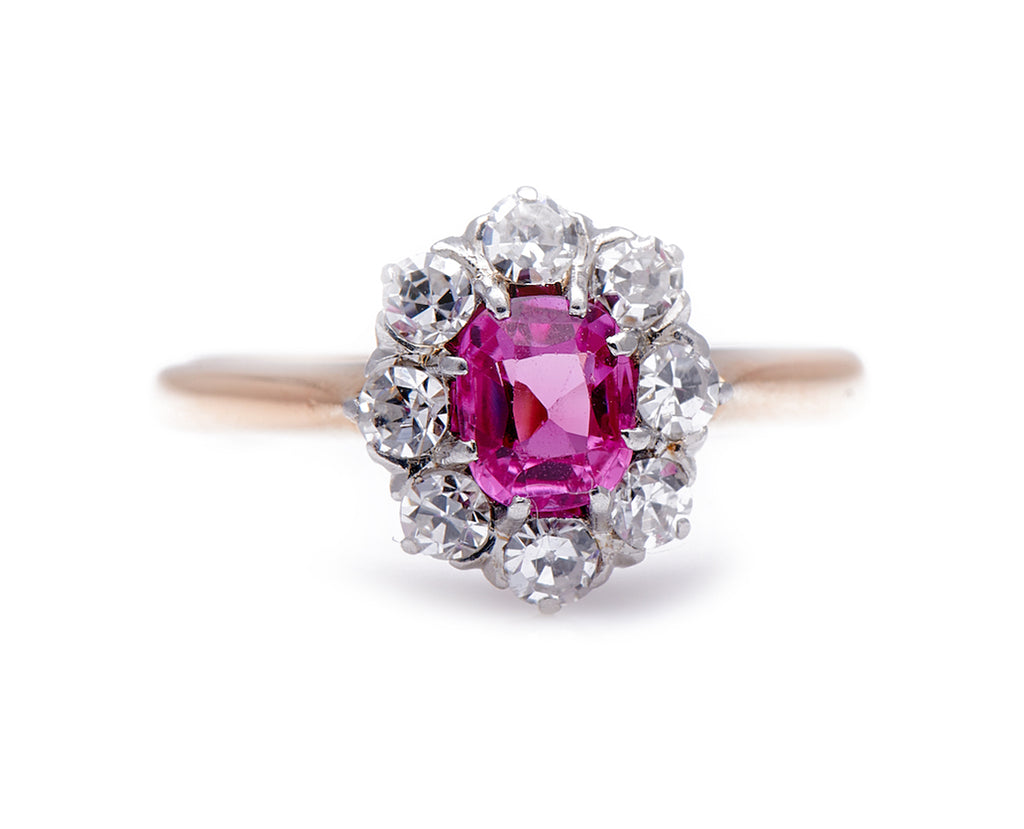 Antique Art Deco, 18ct Gold, Platinum, Pink Sapphire and Diamond Engagement Ring
