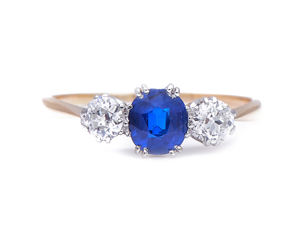 Antique Edwardian, 18ct Gold, Platinum, Sapphire and Diamond Three-stone Ring