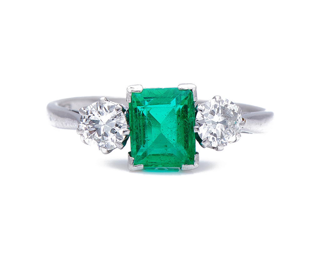 Art Deco, 1930's, 18ct White Gold, Platinum, Colombian Emerald and Diamond Ring