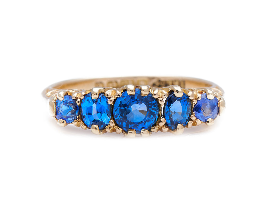 Antique Edwardian, 18ct Gold, Natural Ceylon Sapphire Five Stone Engagement Ring