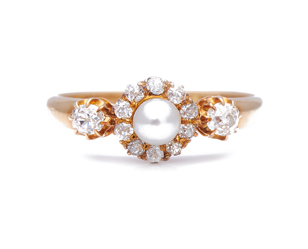 Antique Edwardian, 18ct Gold, Natural Pearl and Diamond Ring