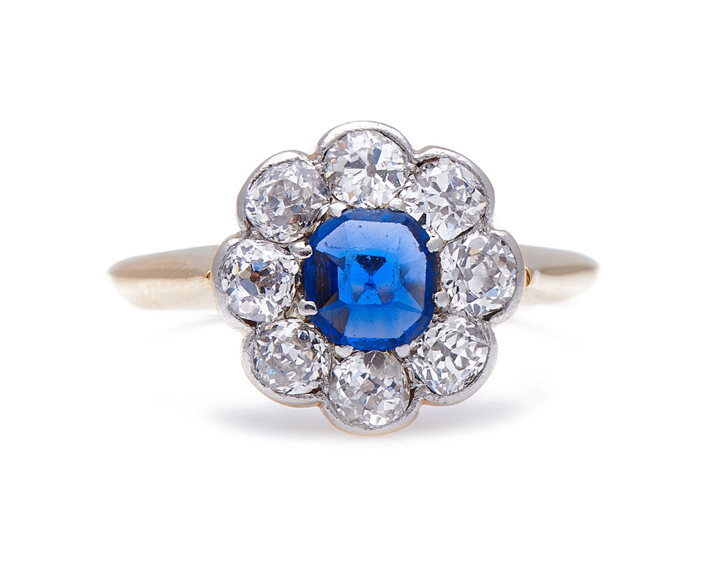 Antique Art Deco, 18ct Gold, Royal Blue Sapphire and Diamond Engagement Ring
