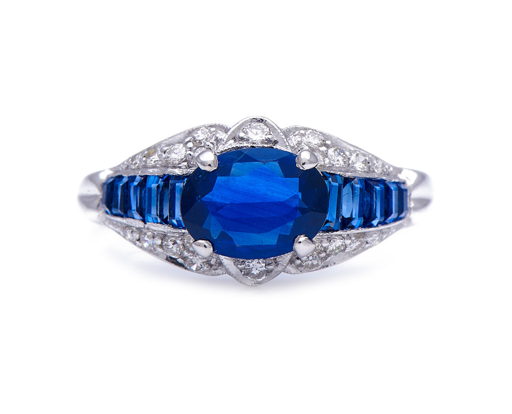 Mid-Century, French, 1940's, Sapphire and Diamond Engagement Ring