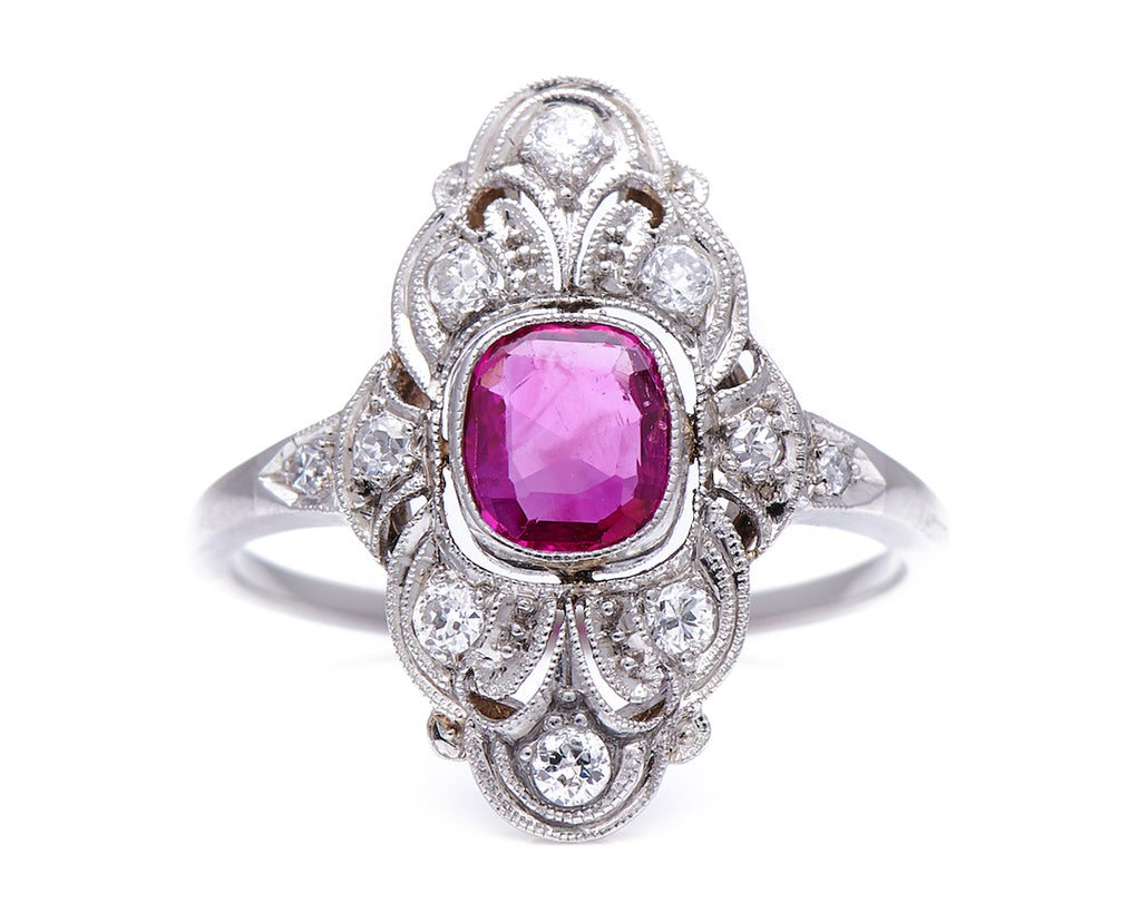 Antique Art Deco, Platinum, Natural Burmese Ruby and Diamond Plaque Ring