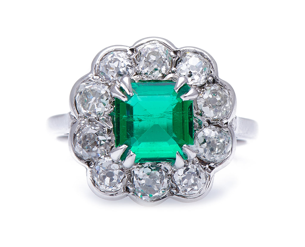 Mid-Century, 1940's, 18ct White Gold, Colombian Emerald and Diamond Cluster Ring