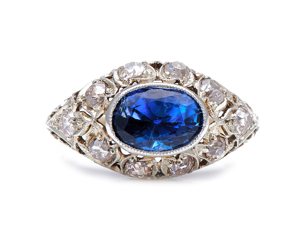 Antique Edwardian, 3 Carat Natural Sri Lankan Sapphire and Diamond Engagement Ring